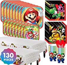 Party City Super Mario Tableware Kit for 16 Guests, 130 Pieces, Includes Plates, Napkins, Table Cover, Cutlery, and Cups