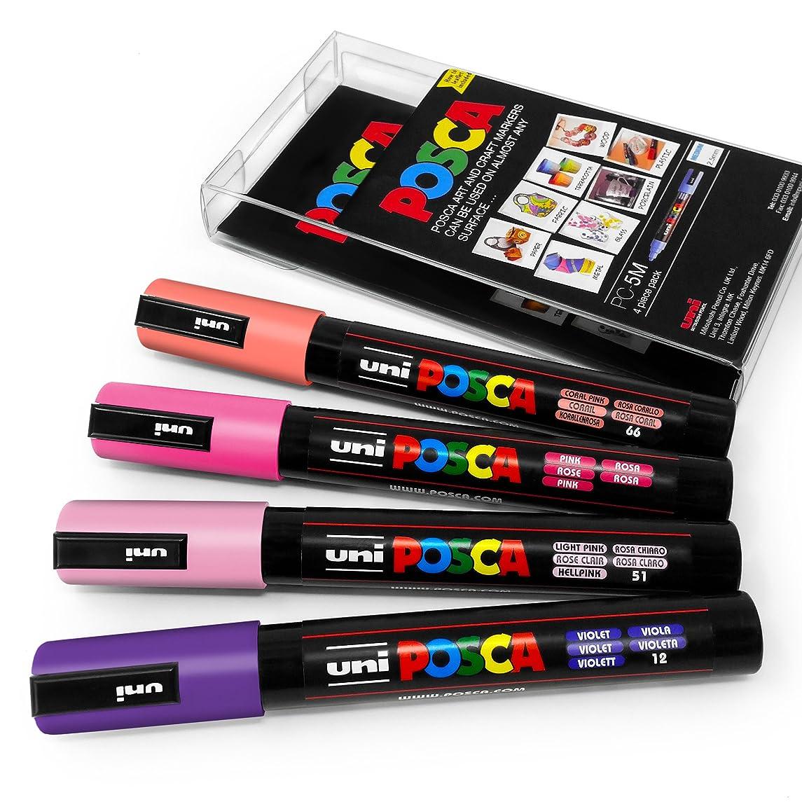 POSCA Colour Tones - PC-5M Art Marker - Set of 4 - In Plastic Wallet - Blossom Tones
