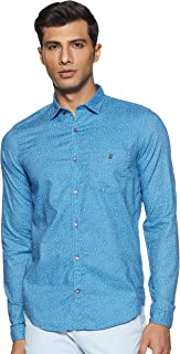 Louis Philippe Sport Men's Printed Slim fit Casual Shirt (LYSFCSSPE37124_Teal_38)