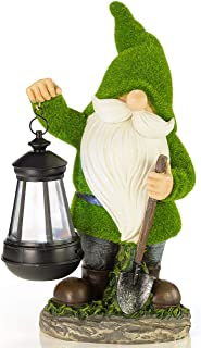 VP Home Earnest Flocked Garden Gnome with Lantern Solar Powered LED Outdoor Decor Light