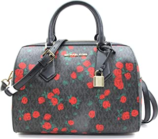 Michael Kors Hayes Large Duffle Black PVC Red Roses