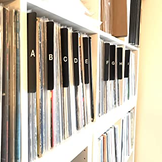 A to Z Black Vertical Vinyl Record Dividers w/ Lettering on Both Sides 12-inch LP Tab Professional Index Album Organizers/Organization A-Z Alphabet Alphabetize Alphabetical Cards