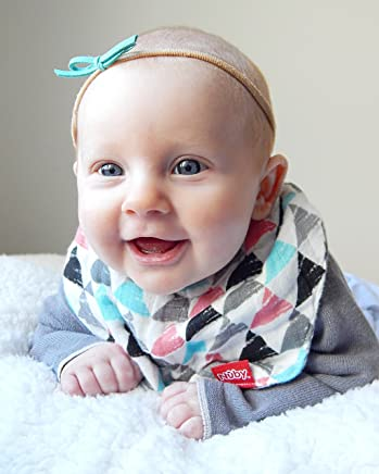 Nuby 2 Piece Reversible 100% Natural Cotton Muslin Teething Bib, Triangles/Arrows,