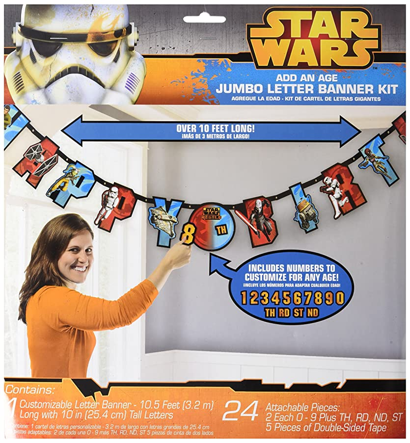 Amscan Star Wars Rebels Birthday Party Add-An-Age Customizable Jumbo Letter Banner Decoration, 10 1/2' X 10