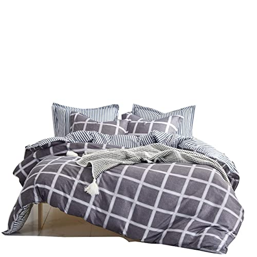 Uozzi Bedding Duvet Cover Set Queen Full, 3PC Reversible with Brushed Microfiber, Soft, Comfortable, Lightweight, Durable(Plaid-white, Queen)