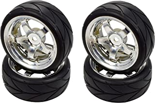 Apex RC Products 1/10 On-Road 12mm Chrome 5 Spoke Wheels V Tread Rubber Tires (Set of 4) #5005