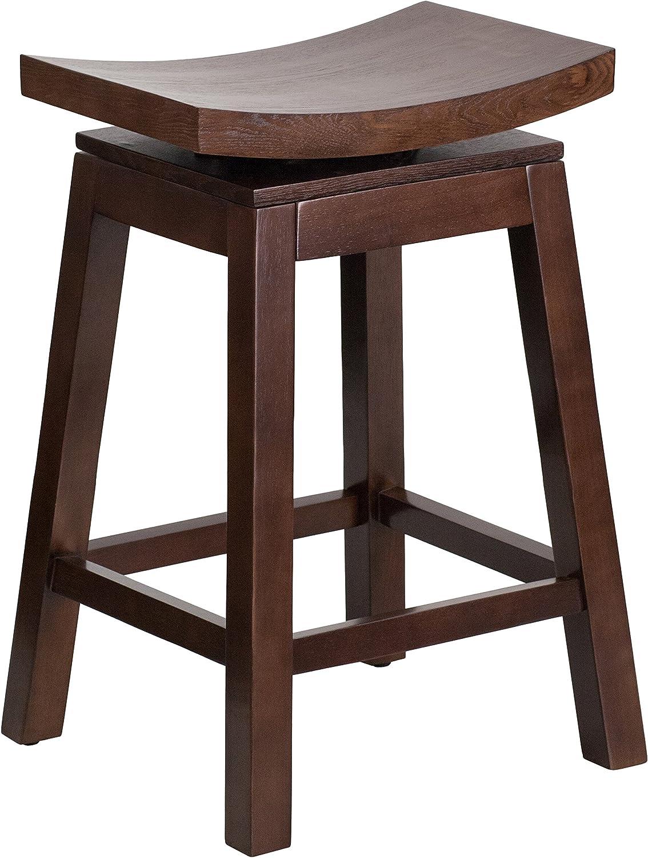 Flash Furniture 26'' High Saddle Seat Cappuccino Wood Counter Height Stool with Auto Swivel Seat Return(TA-SADDLE-2-GG)