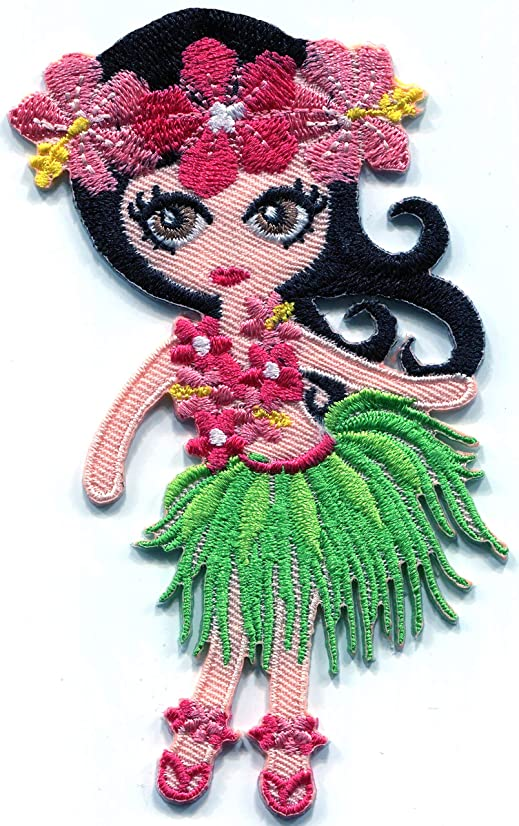 Hawaiian Tropical Hula Dancer Girl Hawaii Embroidered Applique Iron-on Patch S-1586