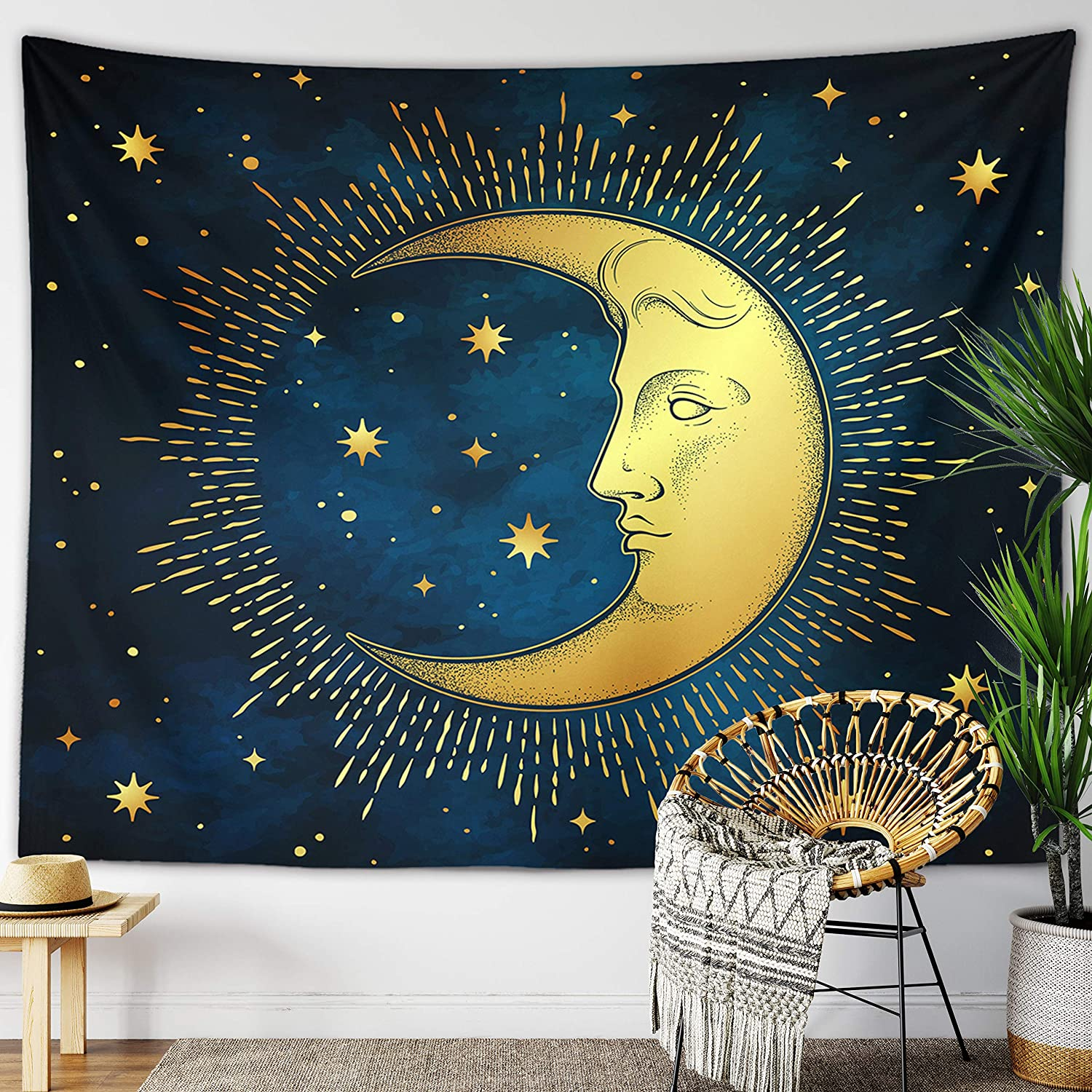 Sun Moon Tapestry Starry Night Wall Hanging Moon Landscape Constellations Lunar Phases Bohemian Eclipse Black and White Wall Decor Astrology Galaxy Boho Celestial Tapestry (Blue Moon Face, 51