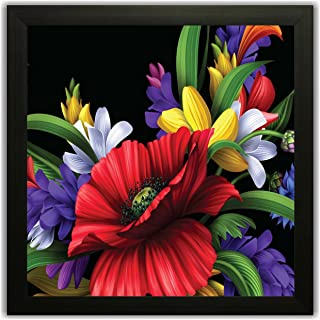 Paper Plane Design Floral/Flowers Photo Frame for Wall, Office, Study, Bed/Living Room Decoration Poster Framed Without Gl...
