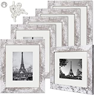 upsimples 8x10 Picture Frame Distressed White with Real Glass,Display Pictures 5x7 with Mat or 8x10 Without Mat,Multi Phot...