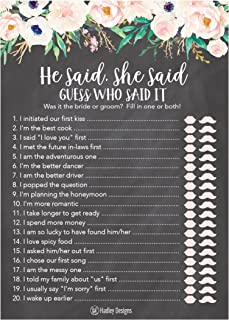 25 Rustic Wedding Bridal Shower Engagement Bachelorette Anniversary Party Game Ideas, Chalk Floral He Said She Said Cards For Couples Funny Co Ed Trivia Rehearsal Dinner Guessing Question Fun Supplies