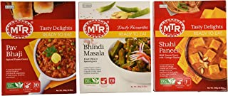 MTR Ready-to-eat Variety Pack - Shahi Paneer - 300g / Bhindi Masala - 300g / Pav Bhaji (Total of 3 Packs)