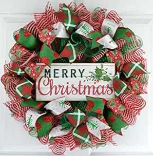 Merry Christmas Wreath | Mesh Christmas Wreath | Outdoor Front Door Wreath | Red White Emerald Green