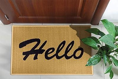 "Ottomanson Welcome Collection Doormat, 20"" x 30"", Beige, Hello Text"