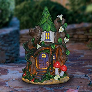 Exhart Fairy House with Red Mushroom - Solar Garden Statue for a Miniature Fairy Garden - Weather Resistant, Durable Resin...