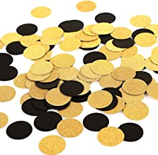 MOWO Glitter Paper Confetti Circles Wedding Party Decor and Table Decor 1.2'' in Diameter (glitter gold,black,200pc)