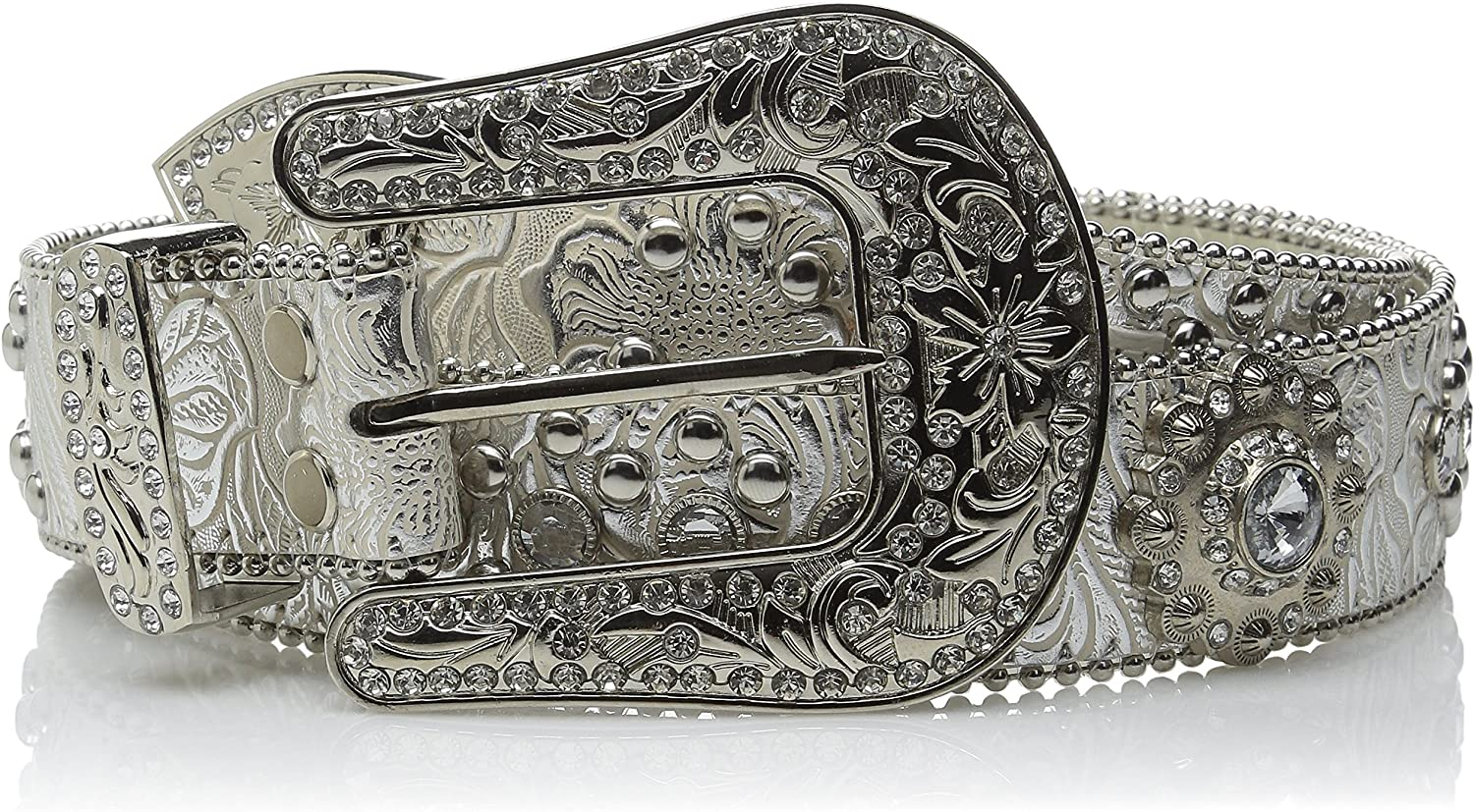 Blazin Roxx Women's Floral Concho And Crystal Metallic Silver Leather Belt