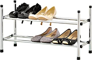 MyGift 2 Tier Stackable Expandable Shoe Rack, Shoe Tower Storage Organizer, Chrome Plated