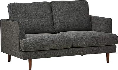 "Amazon Brand – Rivet Goodwin Modern Loveseat Sofa, 61.8""W, Charcoal Grey"