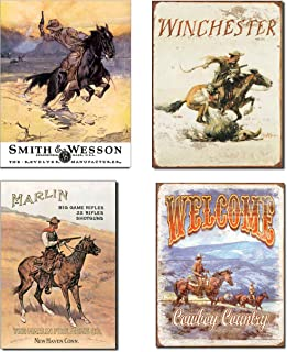 Vintage Cowboy Tin Sign Bundle – Smith & Wesson Hostiles, Winchester,..