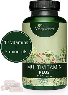 Multivitaminas Vegano Vegavero® | Natural | EL ÚNICO SIN ADITIVOS | 120 Cápsulas | 12 Vitaminas + 5 Minerales | Para Hombre y Mujer | Vitaminas para el Cansancio