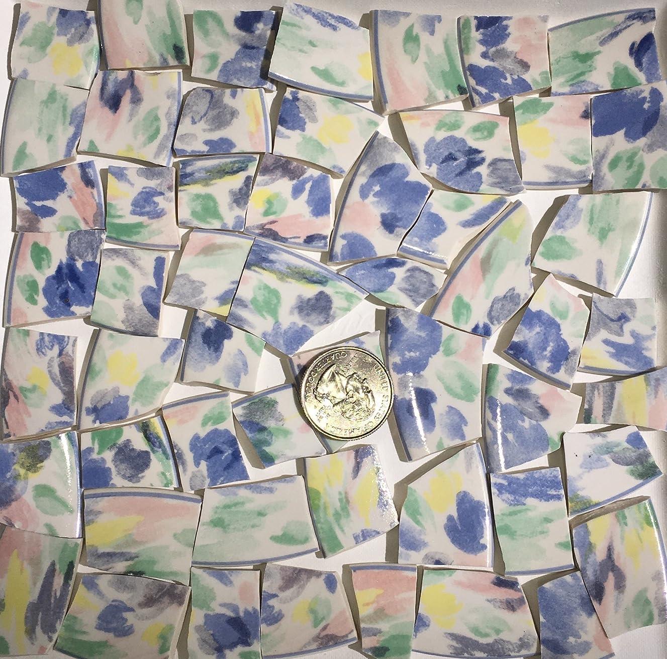 Mosaic Art & Craft Supply ~ Soft Pastel Abstract China Tiles (T#591)
