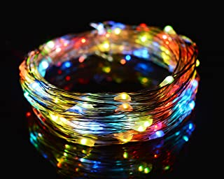 O-Best Color Changing String Lights 33Ft 10M 100 LEDs RGB Flashing Copper Wire Lights Starry LED Rope Lights For Seasonal Decorative Christmas Holiday Wedding with UL Listed Power Adapter (RGB)