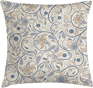 Ambesonne Vintage Throw Pillow Cushion Cover, Oriental Scroll with Swirling Leaves with Eastern Design Inspirations, Decorative Square Accent Pillow Case, 18