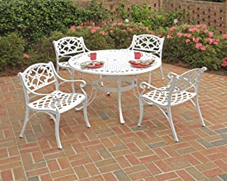 Biscayne White 5-Piece Dining Set with Round Table and 4 Arm Chairs by Home Styles