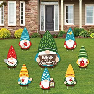 Big Dot of Happiness Garden Gnomes - Yard Sign and Outdoor Lawn Decorations - Forest Gnome Party Yard Signs - Set of 8