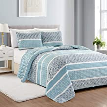 Great Bay Home Reversible Paisley Striped Bedspread. King Size Quilt with 2 Shams...