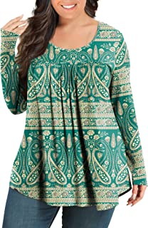 Sponsored Ad - JUEYUN Women's Plus Size Long Sleeve Crew Neck Blouse Loose Fitting Tops Tee Flare Tunic