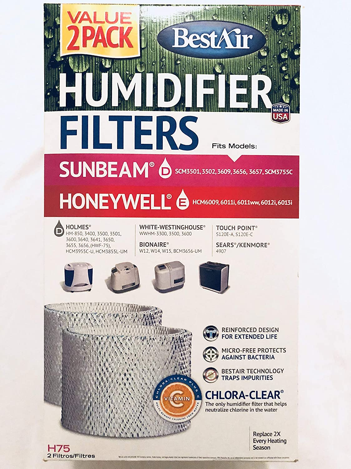 List price BestAir H75-2 Pack Holmes Replacement Paper Humidifier Fi Wick Complete Free Shipping