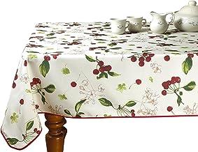 "Violet Linen European Kitchen Cherries Vintage Tablecloth, 60"" x 102"", Beige"