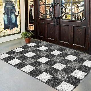 "HEBE Extra Large Indoor Outdoor Doormat 32""x 48"" Washable Checked Rugs Front Door Rug Non Skid Absorbent Mud Entrance Rug ..."