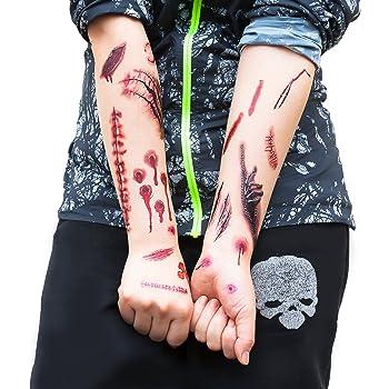 hellomagic 10 Blatt Tempor/äre Tattoos Halloween Wunden Narben Kratzer mit gef/älschten Scab Blut Aufkleber Kost/üm Makeup St/ützen