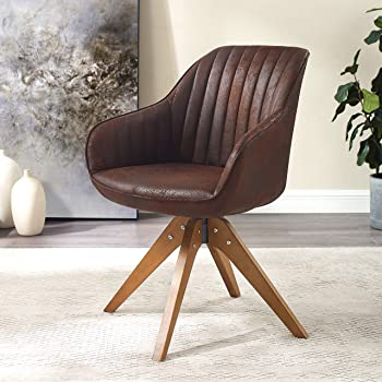 Amazon Com Art Leon Mid Century Modern Swivel Accent Chair Brown With Wood Legs Armchair For Home Office Study Living Room Vanity Bedroom Kitchen Dining