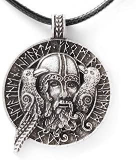 """HAQUIL Viking Jewelry Alloy Odin and Ravens Pendant Necklace with Leather Cord for Men, 19.8"""""""