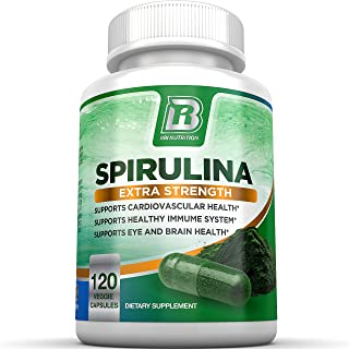 BRI Spirulina 2000mg Maximum Strength Premium Quality Spirulina Superfood Powder, Packed w Antioxidants, Protein and Vitam...