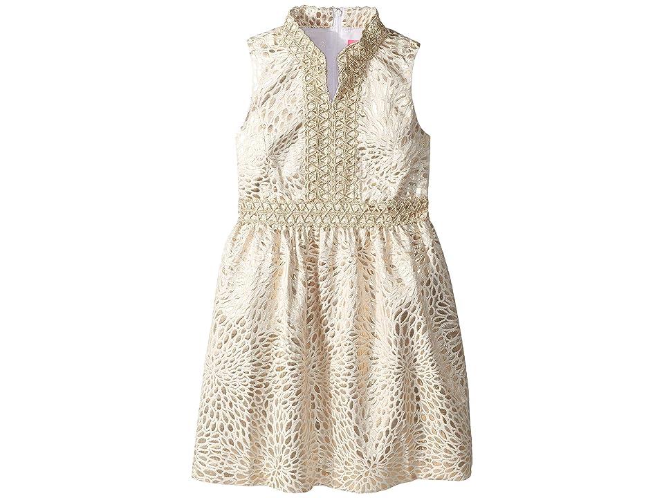 Lilly Pulitzer Kids Mini Franci Dress (Toddler/Little Kids/Big Kids) (Gold Metallic Lagoon Jacquard) Girl
