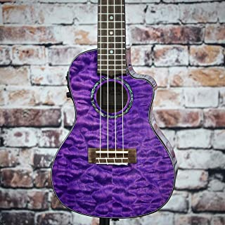 Lanikai Quilted Maple Purple Stain Tenor Electric Ukulele with Padded Gig Bag