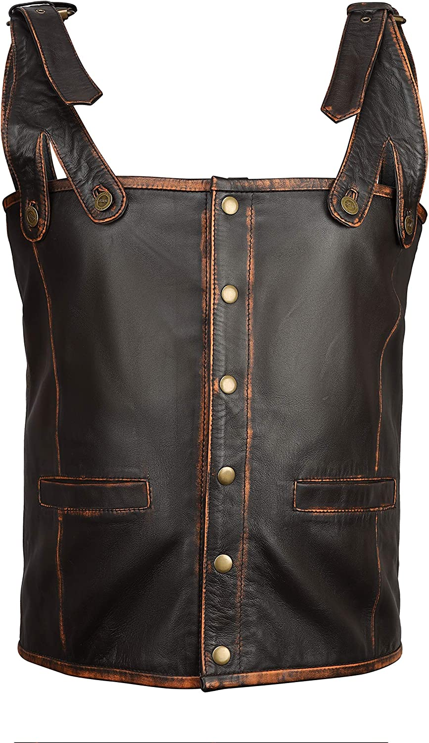 NEW YORK LEATHER Men Vintage Genuine Leather Vest (Special Size (Customize), Brown)