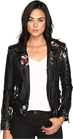 Blank NYC Embroidered Floral Detail Studded Moto Jacket in As You Wish