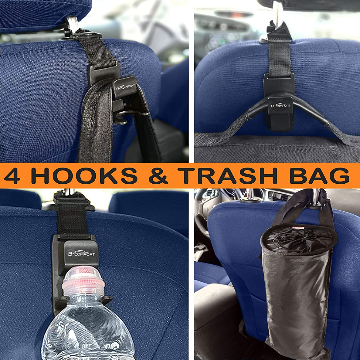 4 Magic Headrest Hooks for Car and Car Trash Bag-Universal Auto Vehicle Hanger Holder Back Front Seat Storage Organizer for Hanging Purse,Handbag,Backpack,Grocery Bags,Women Accessories