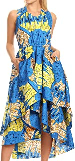 Sakkas ADA Ankara Wax Dutch African Sleeveless Dress Cascading Hi Low Strati