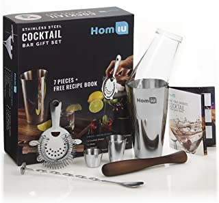 Homiu Cocktail Shaker Set Premium Deluxe Stainless Steel 7 Piece Includes Bar Measures Twisted Spoon Strainer Wooden Muddler and Elegant Gift Box