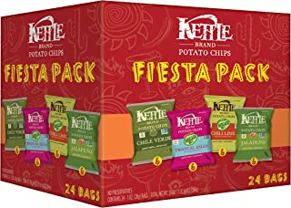 Kettle Brand Potato Chips Fiesta Variety Pack of Chile Verde, Tropical Salsa, Chili Lime..