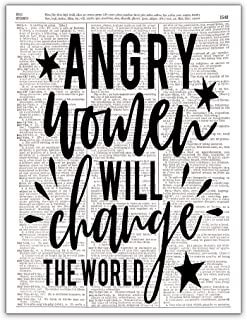 Angry Women Will Change the World, Feminist Art, Girl Power, Strong Women, Girl Boss, Dictionary Print, 8x10, Unframed