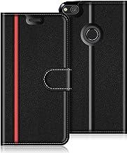 COODIO Custodia in Pelle Huawei P8 Lite 2017, Custodia Huawei P8 Lite 2017, Custodia Portafoglio Cover Porta Carte Chiusura Magnetica per Huawei P8 Lite 2017, Nero/Rosso